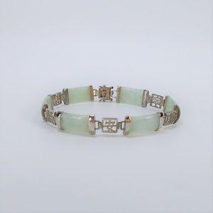 Jewelry - Sterling Silver 925 Mint Green Jade Link Bracelet